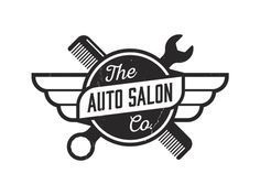 Auto Salon. Automotive meets car detailing logo. Salon, Comb, Wrench, Identity, Logo, Black and White, Vintage, Retro.