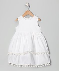 Moonshadow White Pom-Pom Dress - Infant, Toddler & Girls #zulily