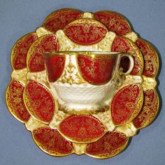 Antique AYNSLEY Red and GOLD Tea Cup Saucer Trio, Hand Painted Quatrefoil Square Teacup, Stunning and Rare Circa 1891 - 1905 by Thinkilikeit on Etsy https://www.etsy.com/listing/454101864/antique-aynsley-red-and-gold-tea-cup