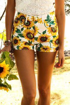 sunflower shorts {☀︎ αηiкα | mer-maid-teen.tumblr.com}