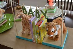 Jungle Themed Baby Shower Book Centerpiece