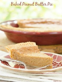 Baked Peanut Butter Pie is a delight for anyone who enjoys peanut butter. Its rich custard-like filling is smooth, decadent, and oh so good.