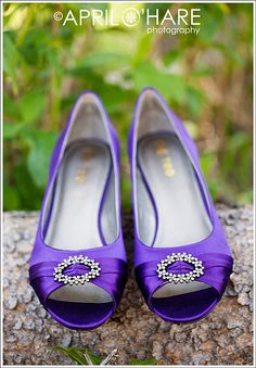 Purple Flat Wedding Shoes With Rhinestones