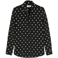 Saint Laurent Polka-dot crepe shirt (3.885 RON) ❤ liked on Polyvore featuring tops, shirts, saint laurent, black, shirts & tops, black shirt, black dot shirt, loose shirts and black loose top