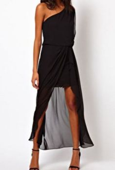 Black One-Shoulder Asymmetrical Bandeau Chiffon Dress pictures