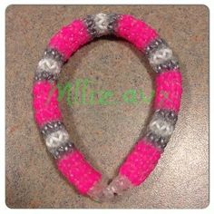 Rainbow Loom Beacelet - Hexafish 6 Pin Fishtail *Silver, Neon & Clear Bands**