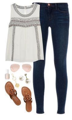 """""""end of spring break"""" by classically-preppy ❤ liked on Polyvore featuring J Brand, Tory Burch, Ray-Ban and Essie"""