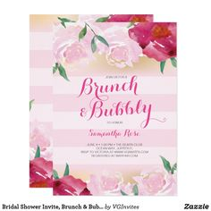 Bridal Shower Invite, Brunch & Bubbly Flowers Card This customizable and high-quality brunch and bubbly bridal shower invitation is perfect for a pink themed party. The pretty double sided invitation design is easily adaptable to birthday parties, girl baby showers, and other events. It features pink stripes and pretty flowers. It is a favorite among brides to be. To see more of VG Invites great designs or to order matching party decorations visit www.zazzle.com/vg invites Victoria is a…