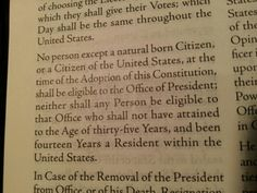 Article 2 Section 1 Clause 5  Founders used the LAWS OF NATURE because British Common Law stole GOD Given Rights. Per Laws of Nature you follow your Dad's Condition. Even though your Mom is a U.S. Citizen ●→If your Dad was foreign at the time of your birth then you are not a Natural Born Citizen just a regular Citizen.