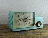 1961Turquoise / Aqua Westinghouse Clock Radio  - So sweet!
