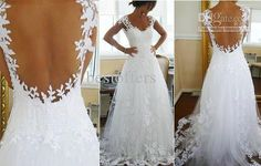 Wholesale Best wedding dress Lace Open back A-line Long Floor length wedding Gown Bestoffers HS0584, Free shipping, $169.12-209.44/Piece   DHgate