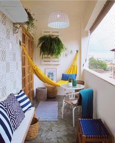 Apartment Balcony Design for Small Spaces - One thing that numerous individuals love to have is a decent apartment balcony design. Sadly, some of them are having issues managing a small balcony . Small Balcony Design, Small Balcony Garden, Small Balcony Decor, Outdoor Balcony, Balcony Ideas, Hammock Balcony, Modern Balcony, Indoor Hammock, Small Balconies