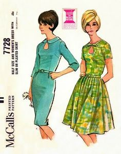 Out of the Ashes Collectibles Vintage Patterns: McCall's 7728 Thrilling Keyhole Neckline Dress with Two Skirts 1965