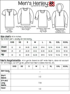 Men's Henley patterns for pirates