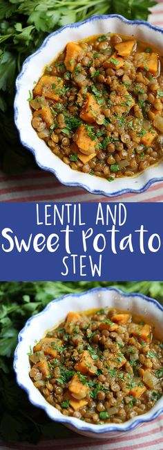 Lentil and Sweet Potato Stew Eat Yourself Skinny Soup Chili and Stews A Souper Collection of Recipes Veggie Recipes, Whole Food Recipes, Soup Recipes, Dinner Recipes, Cooking Recipes, Healthy Recipes, Vegan Sweet Potato Recipes, Vegetarian Recipes Using Lentils, Sweet Potato Lentil Recipe