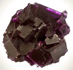 Beautiful cabinet specimen featuring large dark reddish-purple Fluorite cubes with Calcite accents! The color is almost raspberryish but the cubes are a little too thick and the color leans towards the darker side of reddish-purple. The cubes are also spotted with darker purple spots and highlighted by tiny crystals of pearly Calcite!  From Cave-in-Rock, Hardin County, Illinois. Measures 12.5 cm by 11.6 cm by 6.2 cm in total size. Price $1500