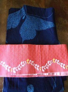 42035647b9a7f Set of 2 Navy Butterfly Yukata Summer Kimono Belt OBI Sash Kawaii Japan
