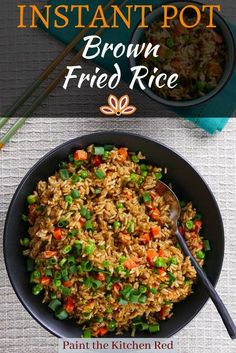 Instant Pot Healthy Brown Fried Rice is a Chinese style fried brown rice recipe that's a great alternative side dish to an Asian meal. This easy recipe with frozen peas and carrots is pressure cooked in the Instant Pot with oyster sauce, soy sauce, and sesame oil which add great flavor. To make it purely vegetarian, add vegetarian mushroom oyster sauce. #instantpot #pressurecooker #brownrice #friedrice #rice