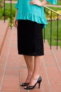 Lace Pencil Skirt - Black - $25 at DCM Apparel