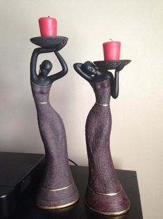 Looks great sis! These are two candleholders that one of our customer shared with us. They are members of our Essence of Africa Collection!  #figurines #candleholders #blackart #blackculture #blackwomen...