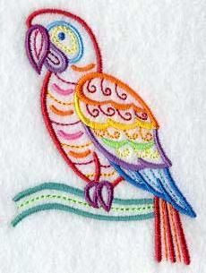 Embroidered Mola Macaw Bird Flour Sack / Hand Towel by misty1718, $10.00