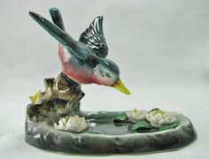Vintage Hummingbird Figurine Lily Pond by TwoCousinsCollection on Etsy