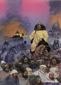 Destruction of Baghdad- Genghis Khan and the Mongol Horde pillaging and enslaving the muslim civilians.