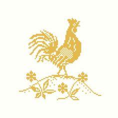 Golden Rooster Cross Stitch Pattern PDF
