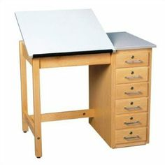 """Shain Fiberesin Dowel Adjustable Drafting Table DT - 4XA Desk Style: Two Piece by Shain. $945.73. Shain This drafting and art table is ideal for any student. This solid maple table is both practical and durable. Six drawers provide plenty of storage while hardwood veneers utilize dowel construction and is finished with sealer and multiple coats of lacquer. Features: -Solid maple table. -Six drawers. -Dowel construction. -0.75"""" fiberesin top. -Top is available in one piece o..."""