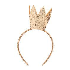 """<P>Shine in regal glory in this golden crown fit for a queen.</P><UL><LI>Measurements: 2""""L x 3""""H<LI>Materials: Fabric/Glitter</LI></UL>"""