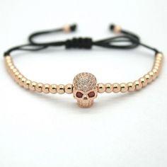 18K Gold Plated Beads Skull Unisex Bracelet [4 Variations]