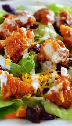Wingers restaurants classic salad! Those sticky chicken fingers are addicting!