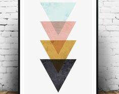 Triangles print Abstract poster Geometric print pink by Wallzilla