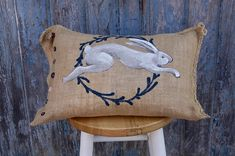 Burlap Bunny Easter Pillow - free shipping - ready to ship - happy easter - spring home decor