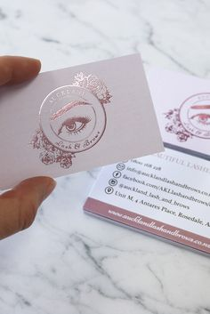 Rose Gold foil printed business card for Auckland Lash and Brows. Designed by Design by Cheyney and printed by Pinc