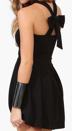 Black Back Bow Mini Dress ♥ #lbd