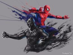 "3,916 Likes, 11 Comments - Tyler Scott Hoover (@tstunningspidey) on Instagram: ""Beast artwork of Spidey & Black Panther. (If anyone knows the artist please tag, I had a hard…"""