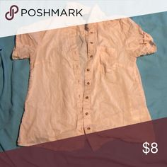 Sheer pink/cream HM button down blouse A little see through, but really cute with jeans or with a cami for work! hm-moden Tops Button Down Shirts