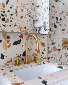 statement terrazzo tile in the bathroom