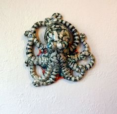 Striped Wall Octopus by ClayCephalopods on Etsy