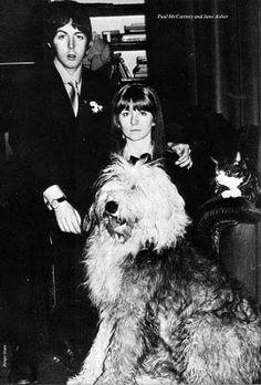 Beatle Paul McCartney, girlfriend actress Jane Asher and Martha his beloved sheepdog.