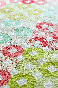 """Again, I don't know how to sew or quilt, but I'd love to commission something like this for E when we finally move her into a """"big girl bed.""""  summer-quilt by croskelley, via Flickr"""