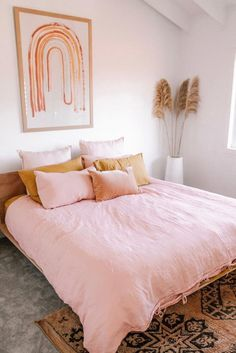 Ellie Bullen has styled our Wildflower Pink and Mustard French Linen in her beautiful blush home. Ellie Bullen has styled our Wildflower Pink and Mustard French Linen in her beautiful blush home. Dream Bedroom, Home Bedroom, Linen Bedroom, Pink Bed Linen, Blush Bedroom Decor, Blush Pink Bedroom, Pastel Bedroom, Bedroom Nook, Pink Bedrooms