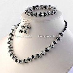 Black Crystal Glass Beaded Necklace Bracelet Earring Fashion Jewelry Set Gift