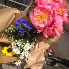 Dagens blomster i min cykelkurv  #dagensblomster #flowersoftoday #flowersoftheday #altan #balcony #greenliving #plants #summer #denmark #Copenhagen #københavn #danmark #sommer #blomster #bloom #blooming #flowers #bike #bikebasket #peoner #solskikke #daisy #staudplante #blå #gul #hvid #rosa #interiørstylist #interiorstylist #linetteklitgaard