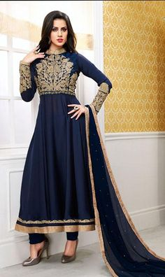 USD 67.09 Blue Georgette Lace Work Party Wear Anarkali Suit 40726