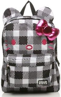 ffe41d160f LOUNGEFLY Hello Kitty Black White Checkers 3D Ears Backpack