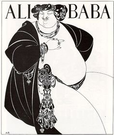 """Illustration 1.  Beardsley's criticism of materialism is evident in his drawing of the robber chief intended for The Forty Thieves. The body of the chief is bejewelled and monstrous, extending beyond the parameters of the page. In her analysis, Zatlin refers to him as a """"vast and impotent eunuch,"""" whose sexual urges have been replaced with a desire for wealth. As a decadent materialist, """"his excresent flesh and opulent jewels attest to a grotesque fascination with the physical."""""""