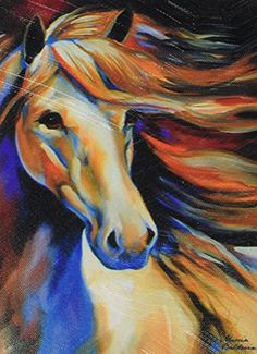 """""""Wind II"""" Western Horse Canvas Print x This stunning canvas print is great for bringing some color to your design scheme! Animal Paintings, Animal Drawings, Painted Horses, Horse Wall Art, Unicorn Art, Art Portfolio, Art Pictures, Canvas Wall Art, Westland Giftware"""