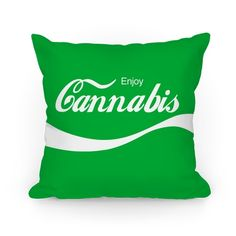 Original art on double-sided printed Pillows in spun polyester from recycled materials with hidden zipper. Enjoy this classic refreshment, Cannabis. Parody logo on a green throw pillow. Funny Throw Pillows, Green Throw Pillows, Stoner Couple, Psychedelic Decor, Stoner Room, Hippy Room, Chill Room, Roomspiration, Smoking Weed
